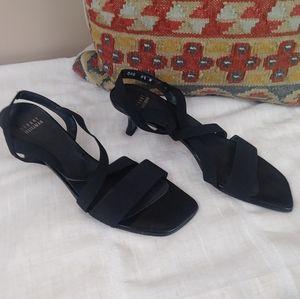 Stuart Weitzman black elastic Strap Kitten Heels